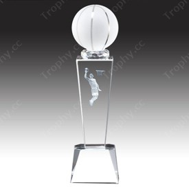 Optical Glass Basketball Trophy Award With 3d Laser Engraved