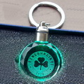 3d laser circular faced crystal keychain with green led light
