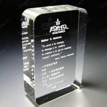 3d Laser Engraved Rectangle Plaque With Smooth Edged