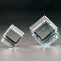 beveled standing crystal glass cube paper weight