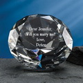 3d laser engraved diamond crystal paperweight