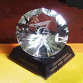 engraved diamond award with black glass base