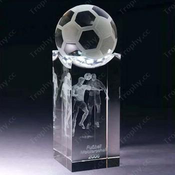Optical Crystal Soccer Ball On 3d Laser Engraved Glass Base
