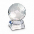 crystal glass football trophy award with 3d laser enrgaving