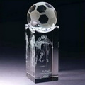 crystal football with a 3d laser engraved soccer player inside the cube crystal base