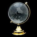 crystal globe with golden stand holder