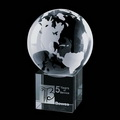 optic crystal world globe paperweight