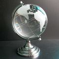 crystal globe paperweight with silver metal stand