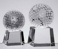 optical crystal glass golfball stand on a ladder-shaped base