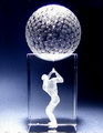 crystal golfball stand on a rectangle crystal base with 3d laser engraved