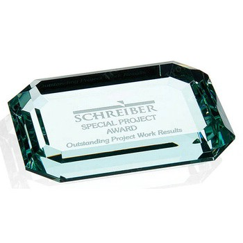 Bevelled Edged Square Jade Glass Paperweight