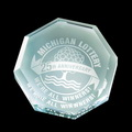 octagon jade glass paperweight engraved