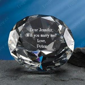 gravierte Kristallglas Diamant Briefbeschwerer