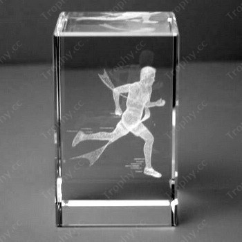 3d Laser Etched Crystal Cube Paperweight