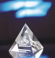 engraved pyramid crystal paperweight
