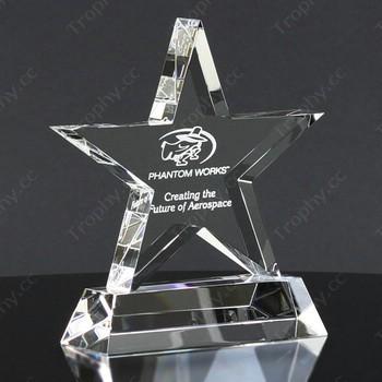 Laser-geätzten Stern Kristall-Trophäe Auszeichnung trapezförmigen Sockel