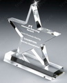 engraved glass star award with rectangle base