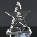engraved star crystal award with ladder-shaped glass base