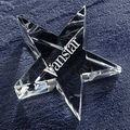 engraved star crystal glass paper weight