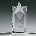 engraved five-pointed star crystal trophy award